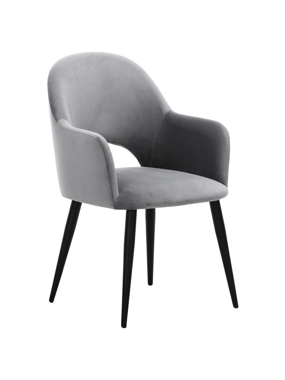 Sametová židle spodručkami Rachel, Ocelově šedá Nohy: černá