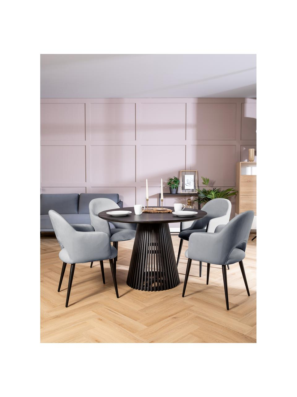 Krzesło z podłokietnikami z aksamitu Rachel, Tapicerka: aksamit (poliester) Dzięk, Nogi: metal malowany proszkowo, Aksamitny stalowoszary Nogi czarny, S 56 x G 70 cm