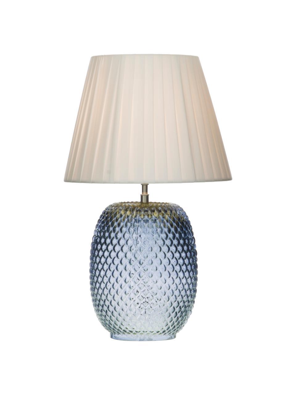 Tischlampe Cornelia aus Glas, Lampenschirm: Polyester, Lampenfuß: Glas, Blau, Weiß, Ø 25 x H 42 cm