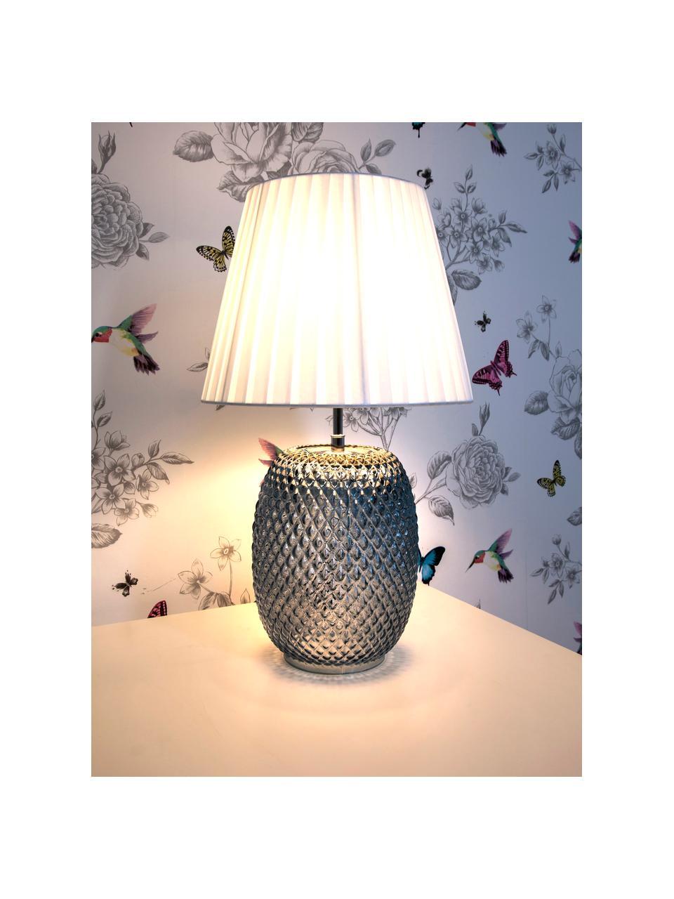 Tafellamp Cornelia van glas, Lampenkap: polyester, Lampvoet: glas, Blauw, wit, Ø 25 x H 42 cm