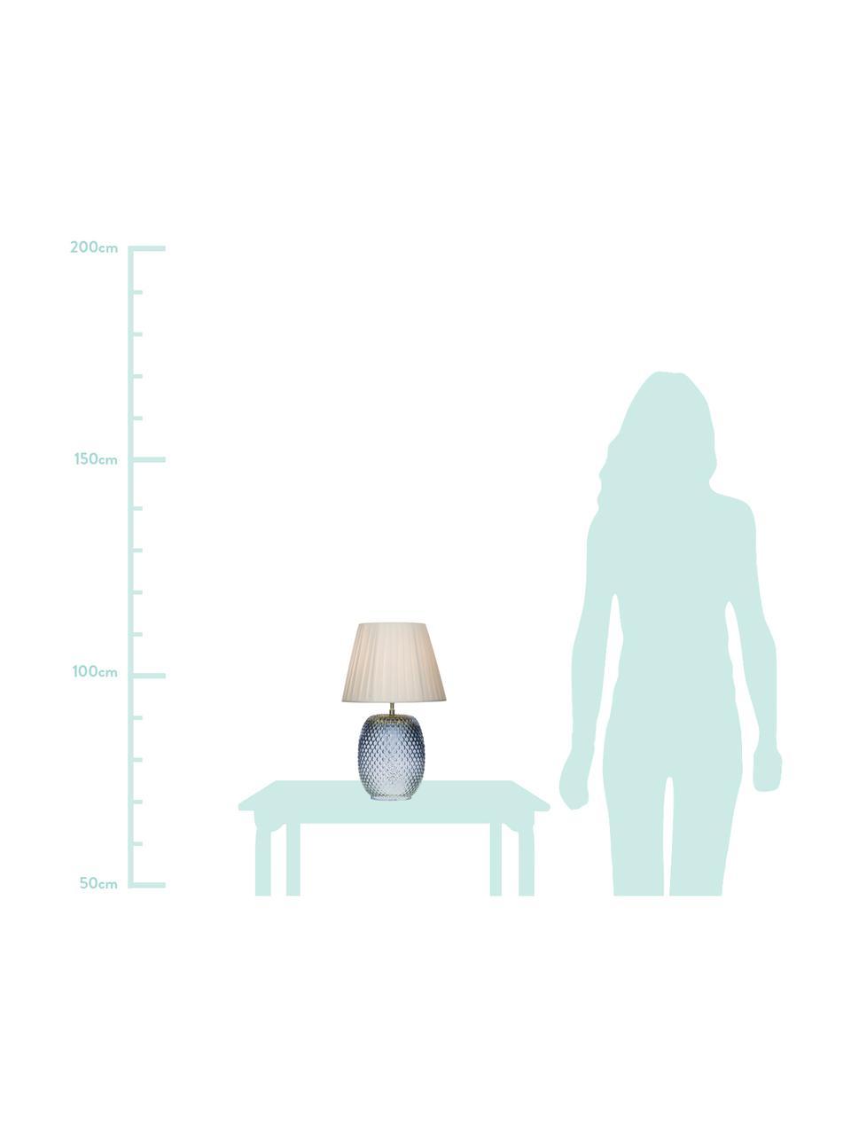Lampa stołowa ze szkła Cornelia, Niebieski, biały, Ø 25 x W 42 cm