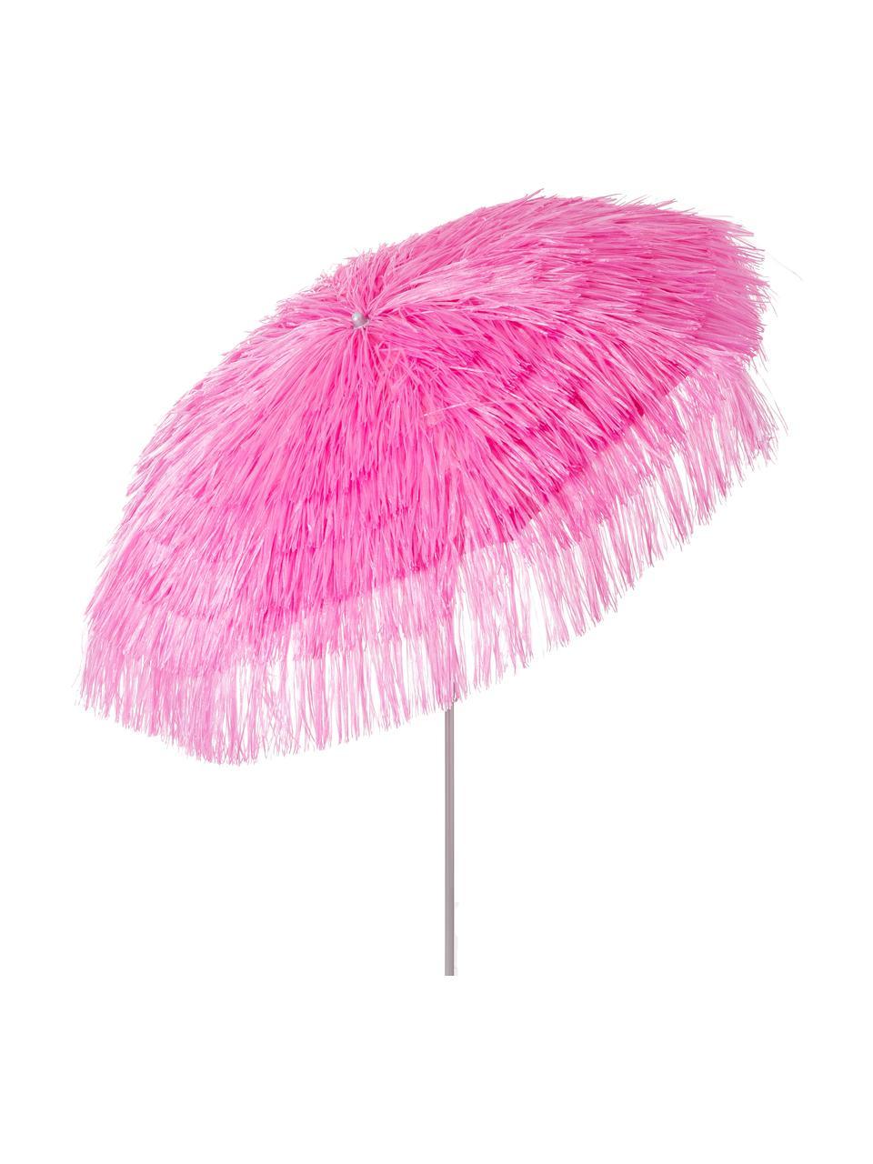 Sonnenschirm Hawaii in Pink mit Fransen, Ø 200 cm, Pink, Ø 200 x H 210 cm