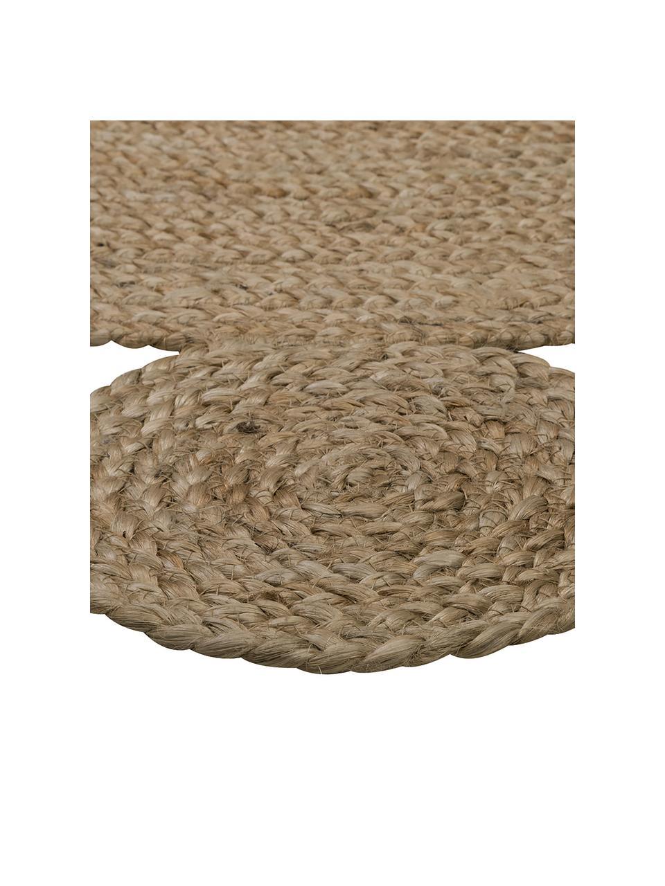 Runder Jute-Teppich Niago im Boho Style, handgefertigt, 100% Jute, Beige, Ø 150 cm (Größe M)