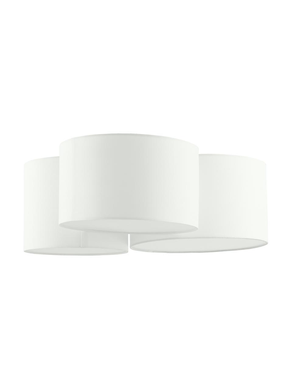 Grote plafondlamp Luke, Baldakijn: gepoedercoat metaal, Crèmewit, Ø 61 x H 26 cm