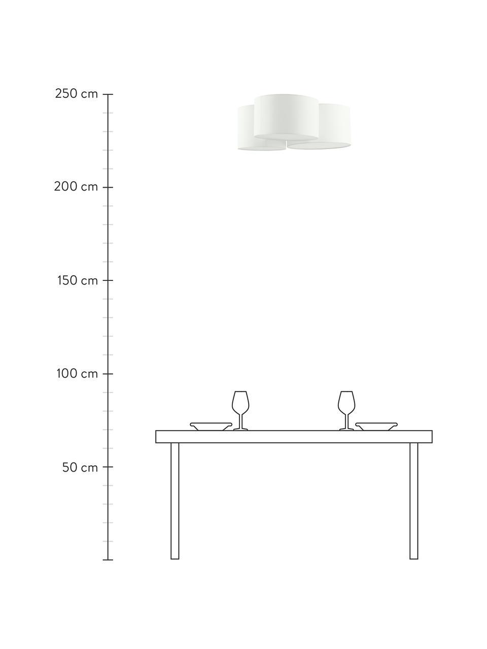 Große Deckenleuchte Luke, Baldachin: Metall, pulverbeschichtet, Cremeweiß, Ø 61 x H 26 cm