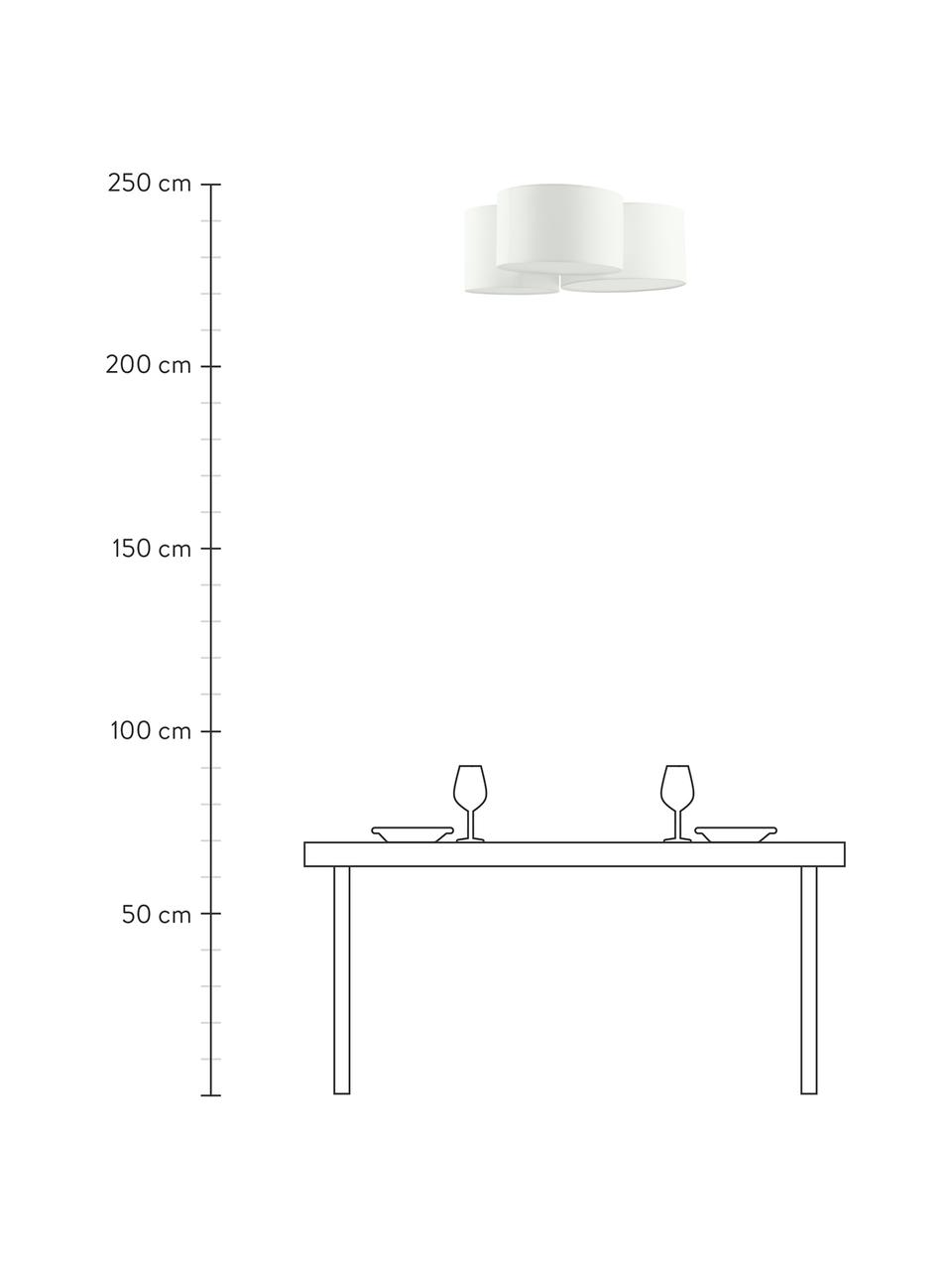 Plafoniera grande Luke, Baldacchino: metallo, verniciato a pol, Paralume: tessuto, Bianco crema, Ø 61 x Alt. 26 cm