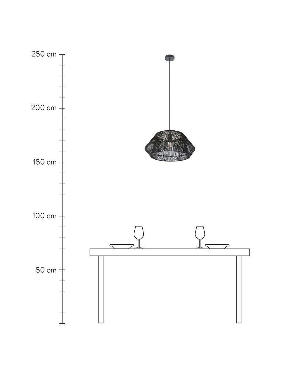 Pendelleuchte Hadi in Kordeloptik, Lampenschirm: Stoff, Baldachin: Metall, pulverbeschichtet, Schwarz, Ø 48 x H 22 cm
