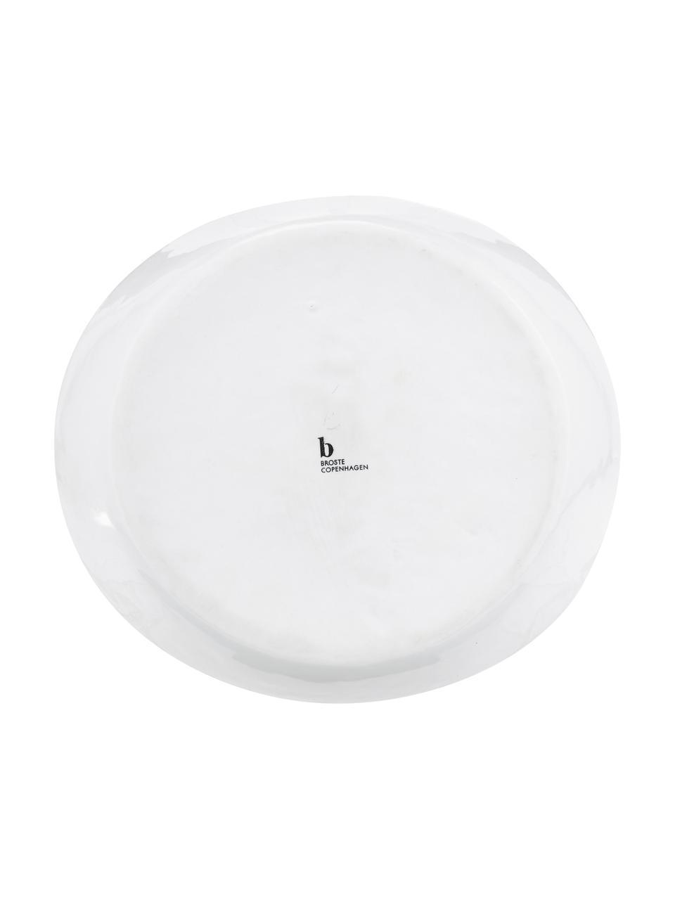 Ręcznie wykonany półmisek Salt Ø 24 cm, Porcelana, Złamana biel, czarny, S 24 x W 4 cm