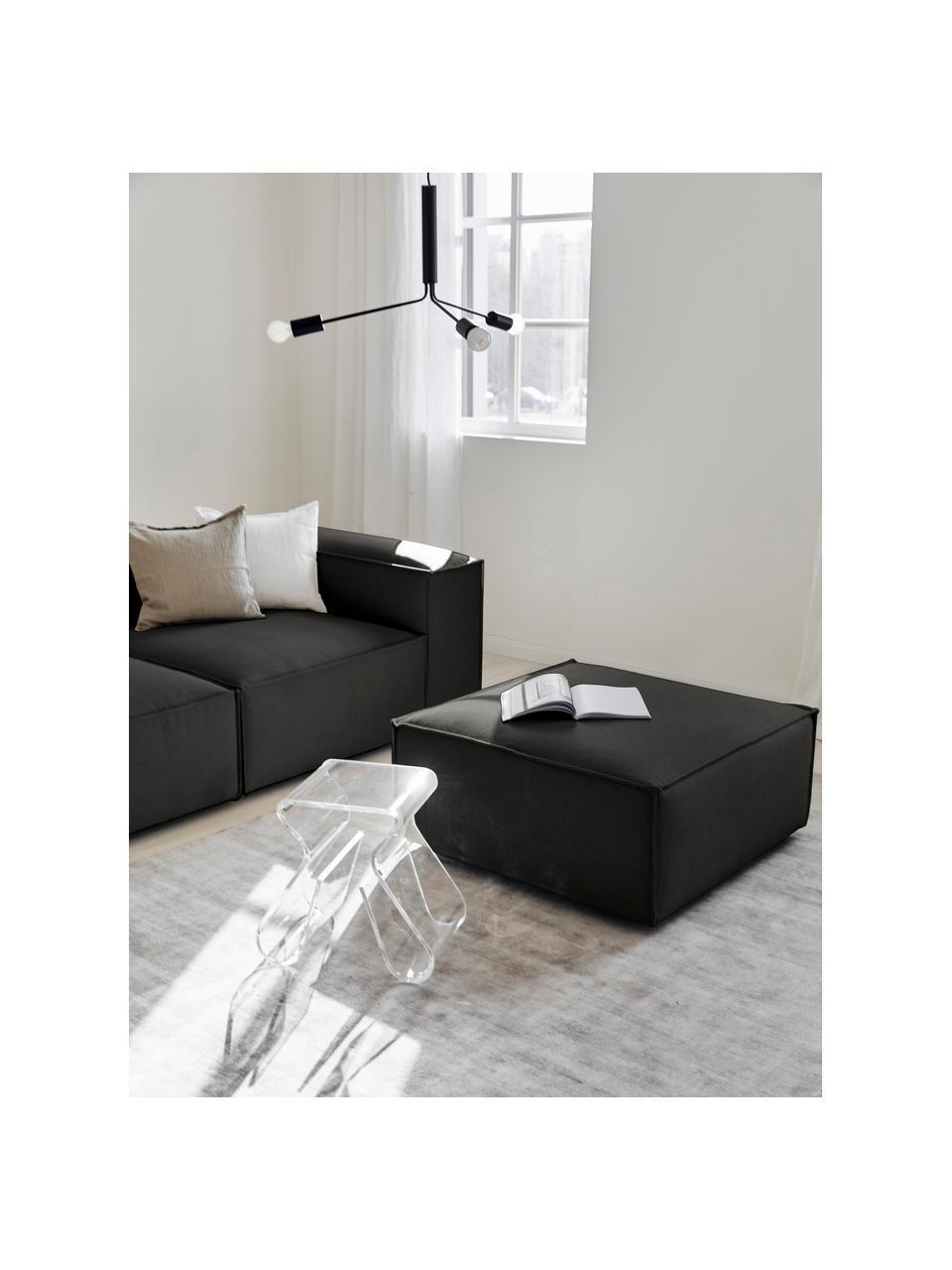 Sofa-Hocker Lennon in Anthrazit, Bezug: Polyester Der hochwertige, Gestell: Massives Kiefernholz, Spe, Füße: Kunststoff Die Füße befin, Webstoff Anthrazit, 88 x 43 cm