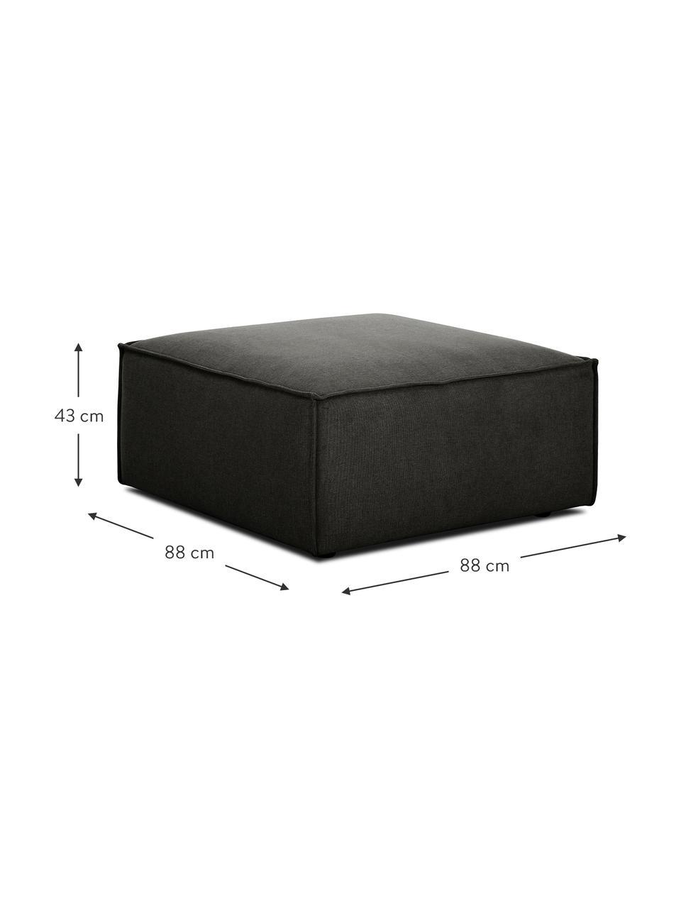 Poggiapiedi da divano in tessuto antracite Lennon, Rivestimento: 100% poliestere Il rivest, Struttura: legno di pino massiccio, , Piedini: materiale sintetico I pie, Tessuto antracite, Larg. 88 x Alt. 43 cm