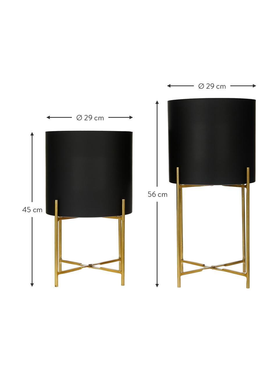 Übertopf-Set Mina aus Metall, 2-tlg., Metall, pulverbeschichtet, Schwarz, Set mit verschiedenen Größen