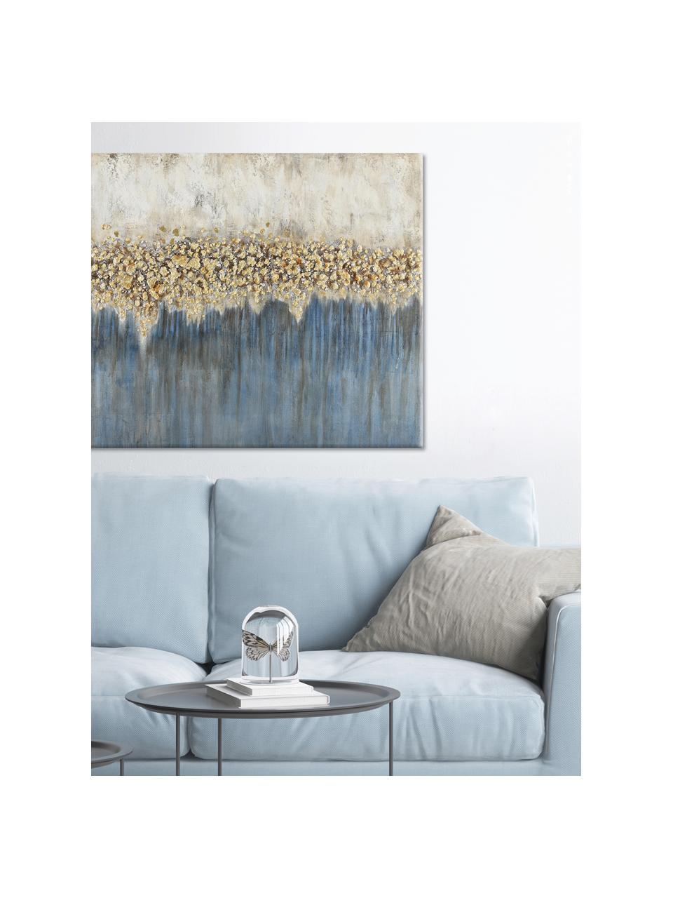 Ręcznie malowany obraz na płótnie Danish Arts I, Biały, niebieski, odcienie złotego, S 120 x W 90 cm