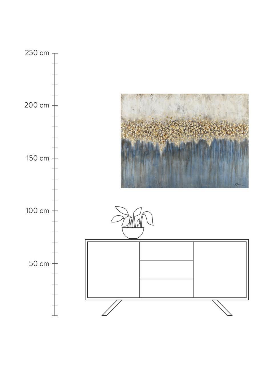 Handgemaltes Leinwandbild Danish Arts I, Bild: Ölfarben auf Leinen (300 , Weiß, Blau, Goldfarben, 120 x 90 cm