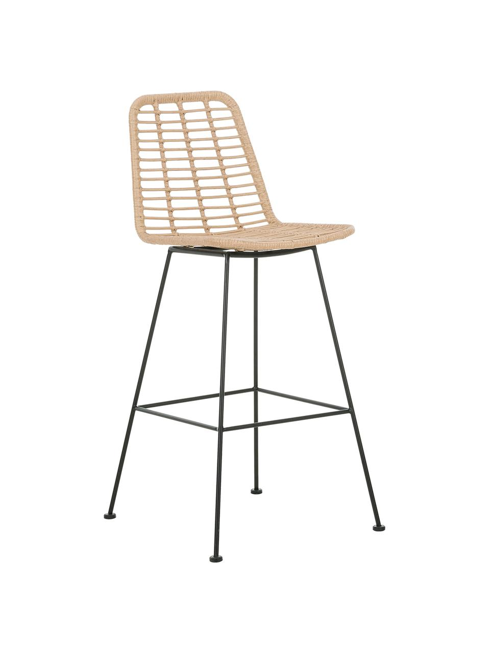 Polyrattan-Barstuhl Costa, Sitzfläche: Polyethylen-Geflecht, Gestell: Metall, pulverbeschichtet, Hellbraun, Schwarz, 56 x 98 cm