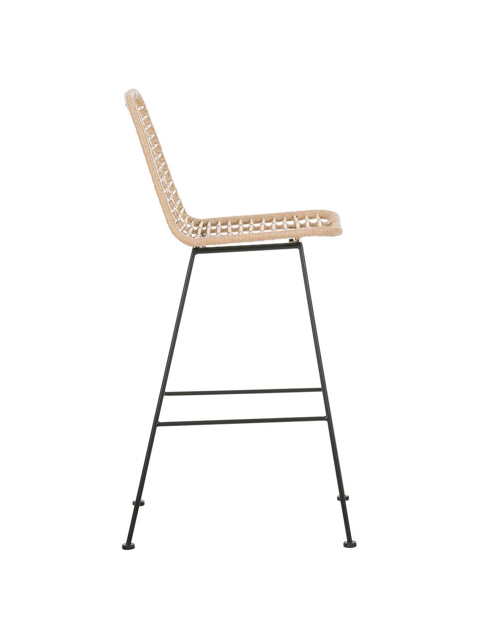 Sedia da bar intrecciata Sola, Seduta: intreccio polietilene, Struttura: metallo verniciato a polv, Marrone chiaro, Larg. 56 x Alt. 98 cm