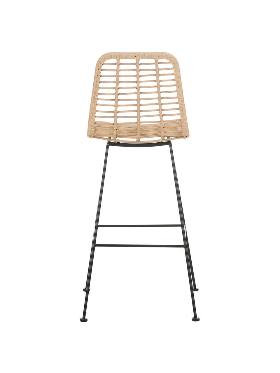 Krzesło barowe z polirattanu Costa, Stelaż: metal malowany proszkowo, Jasny brązowy, S 56 x W 98 cm