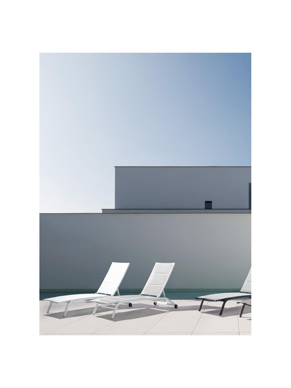 Gartenliege Cleo in Weiß, Gestell: Aluminium, pulverbeschich, Rollen: Kunststoff, Weiß, Schwarz, B 192 x T 61 cm