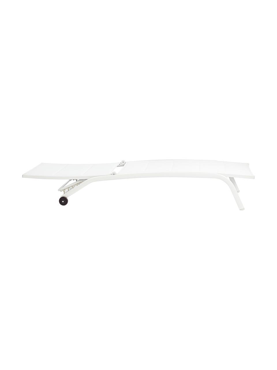 Lettino prendisole bianco Cleo, Struttura: alluminio verniciato a po, Rivestimento: textilene, Bianco, nero, Larg. 192 x Prof. 61 cm