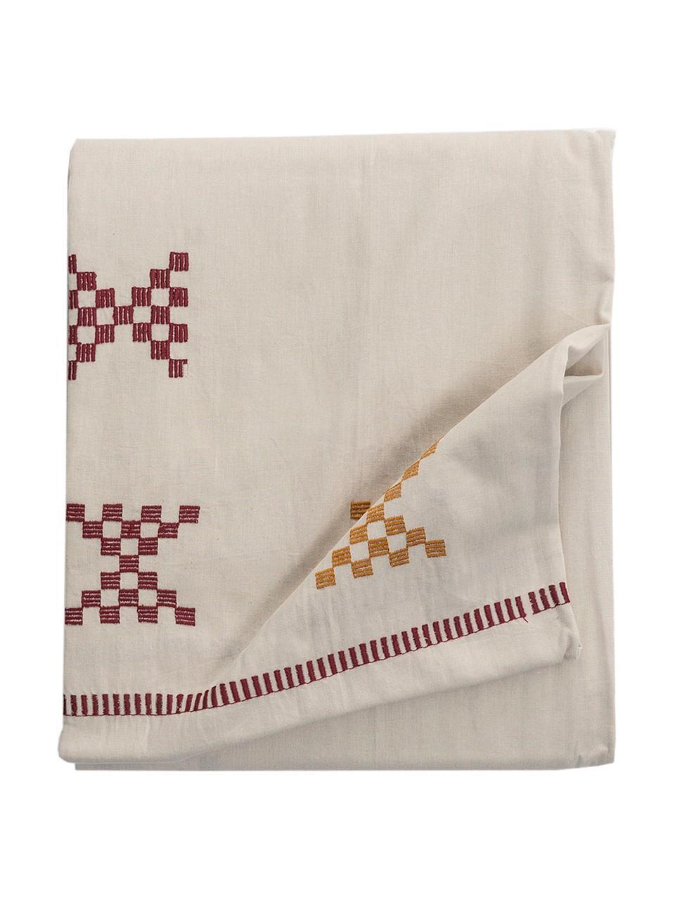 Nappe rustique en coton brodé Kelti, Blanc cassé, rouge, jaune