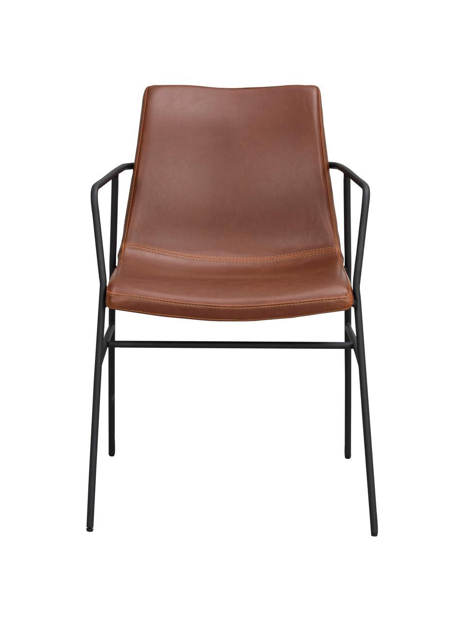 Sedia in similpelle marrone con braccioli Huntington 2 pz, Rivestimento: pelle ecologica (poliuret, Gambe: metallo rivestito, Similpelle marrone, Larg. 54 x Prof. 58 cm