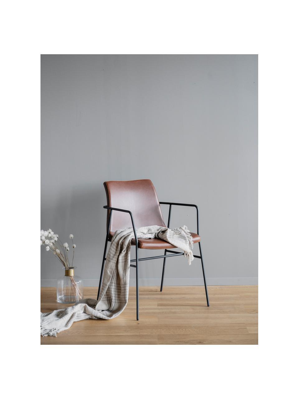 Krzesło ze sztucznej skóry z podłokietnikami Huntington, 2 szt., Tapicerka: sztuczna skóra, Stelaż: drewno warstwowe, Nogi: metal powlekany, Brązowy, czarny, S 54 x G 58 cm