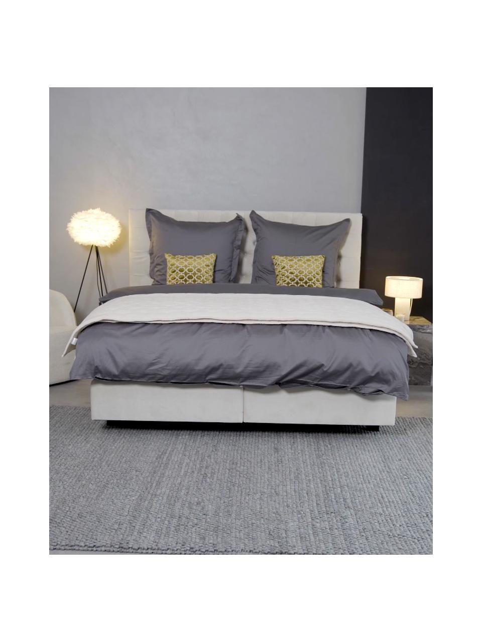 Łóżko kontynentalne z aksamitu premium Phoebe, Nogi: lite drewno brzozowe, lak, Aksamitny beżowy, 140 x 200 cm