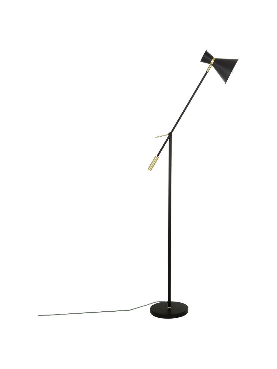 Lampada da lettura in metallo Audrey, Paralume: Metallo verniciato a polv, Base della lampada: Metallo verniciato a polv, Nero opaco, Ø 18 x Alt. 145 cm