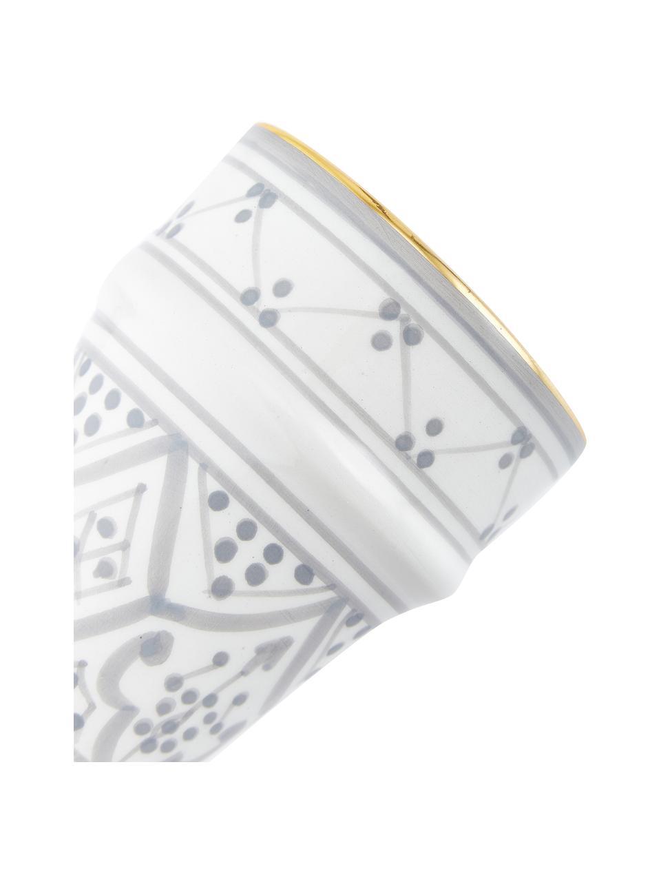 Handgemachter marokkanischer Becher Beldi mit Goldrand, Keramik, Hellgrau, Cremefarben, Gold, Ø 8 x H 11 cm