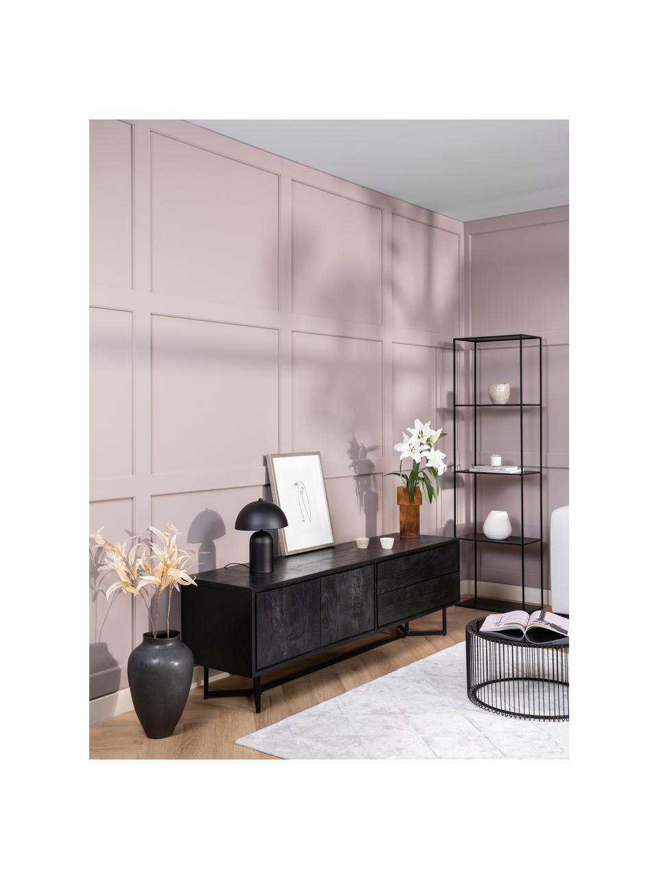 Zwarte Tv-meubel Luca met deuren van massief hout, Frame: gepoedercoat metaal, Raamwerk: zwart, gelakt. Frame: mat zwart, 180 x 54 cm
