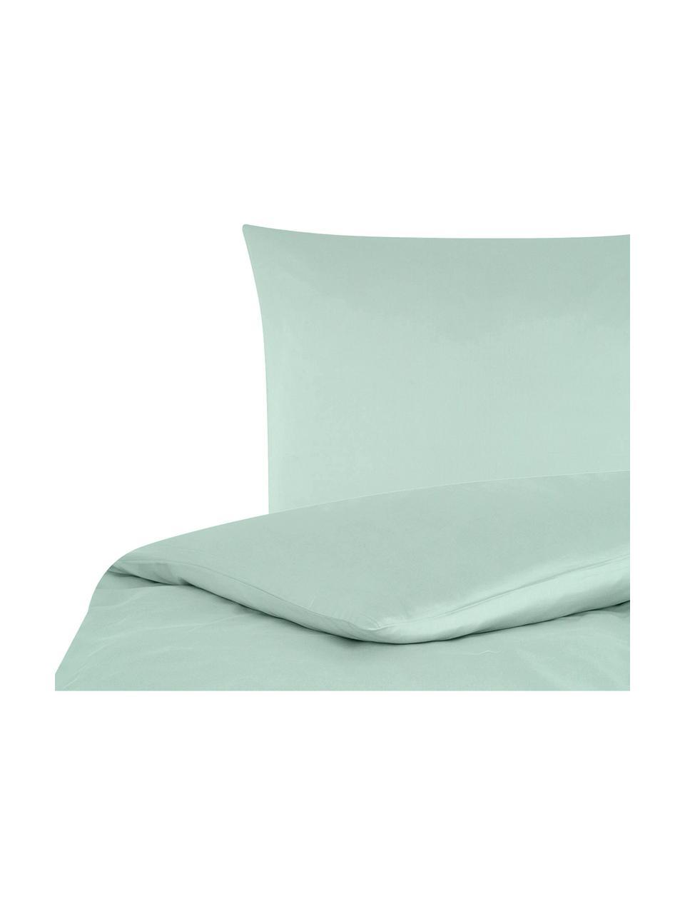 Pościel z satyny bawełnianej Comfort, Szałwiowy zielony, 135 x 200 cm + 1 poduszka 80 x 80 cm