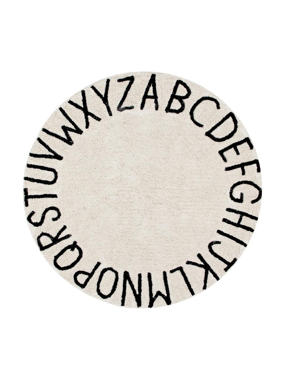 Tappeto rotondo lavabile con motivo a lettere ABC, Cotone riciclato (80% cotone, 20% altre fibre), Marrone chiaro, nero, Ø 150 cm (taglia M)