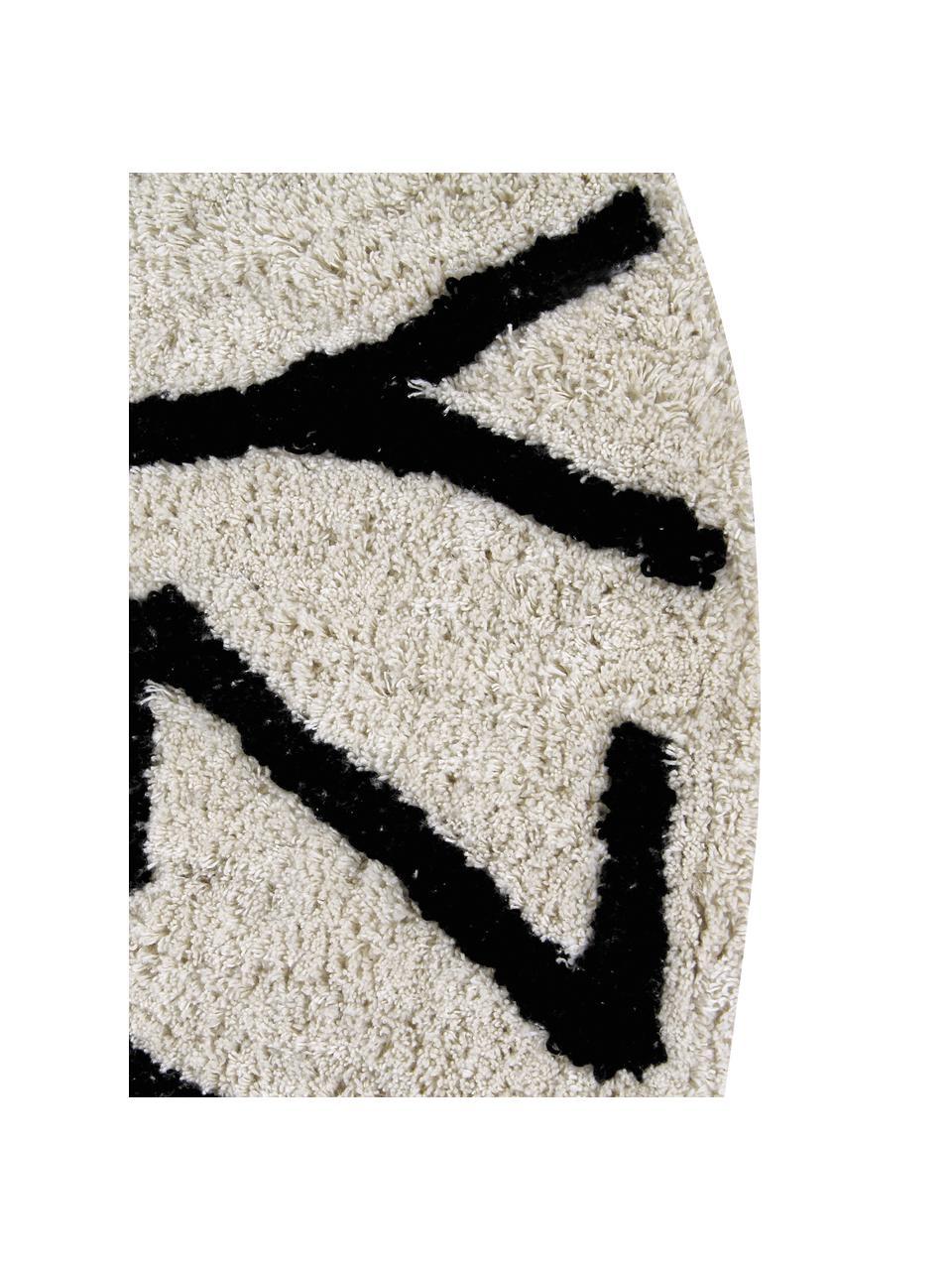 Tapis rond design beige noir ABC, Brun clair, noir