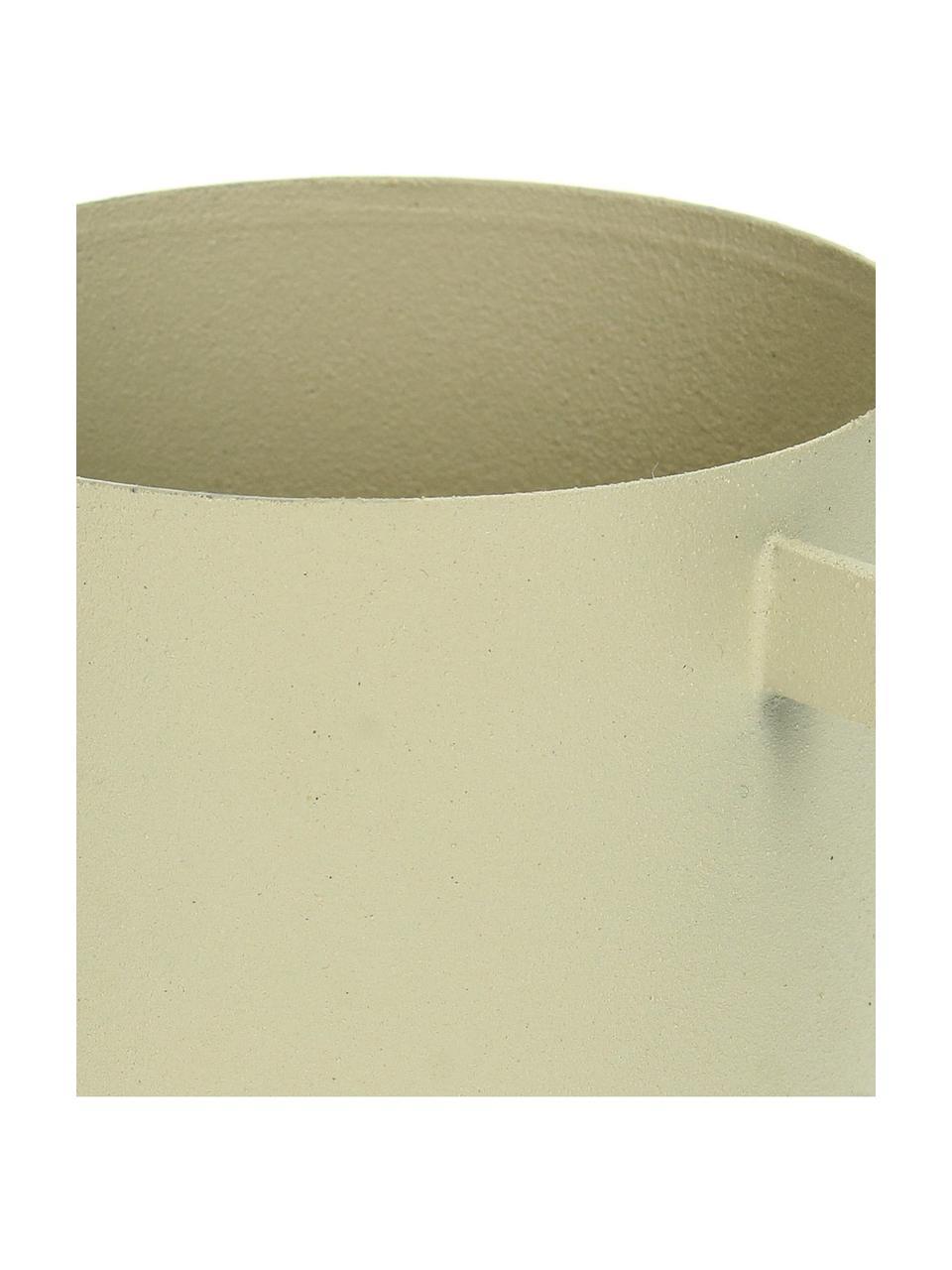 Kleiner Übertopf Onyx, Metall, beschichtet, Beige, Ø 9 x H 12 cm
