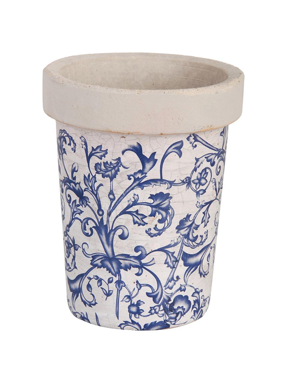 Mała osłonka na doniczkę Cerino, Ceramika, Niebieski, biały, Ø 13 x W 16 cm