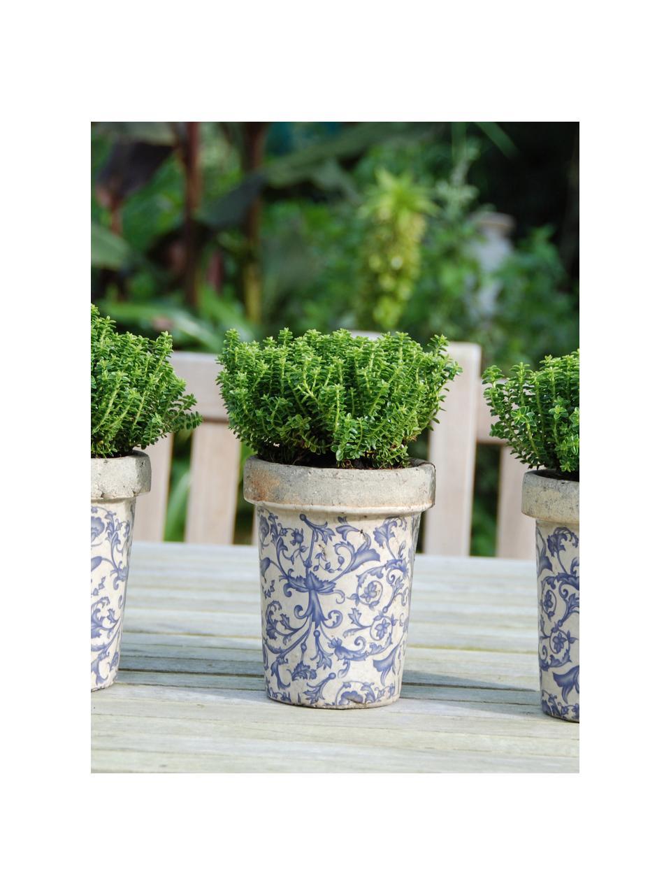 Kleine plantenpot Cerino, Keramiek, Blauw, wit, Ø 13 x H 16 cm