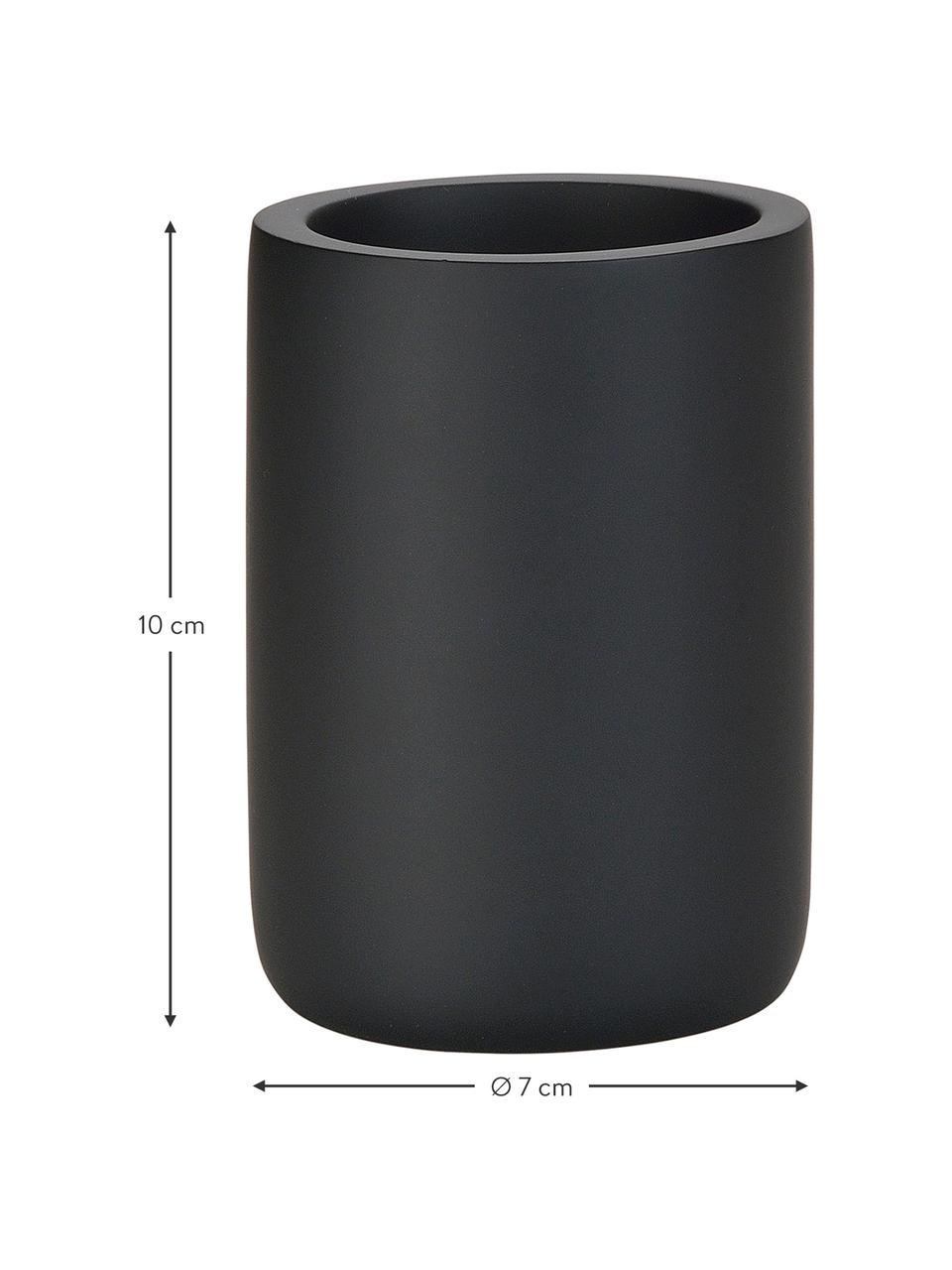 Zahnputzbecher Archway, Polyresin, Schwarz, Ø 7 x H 10 cm