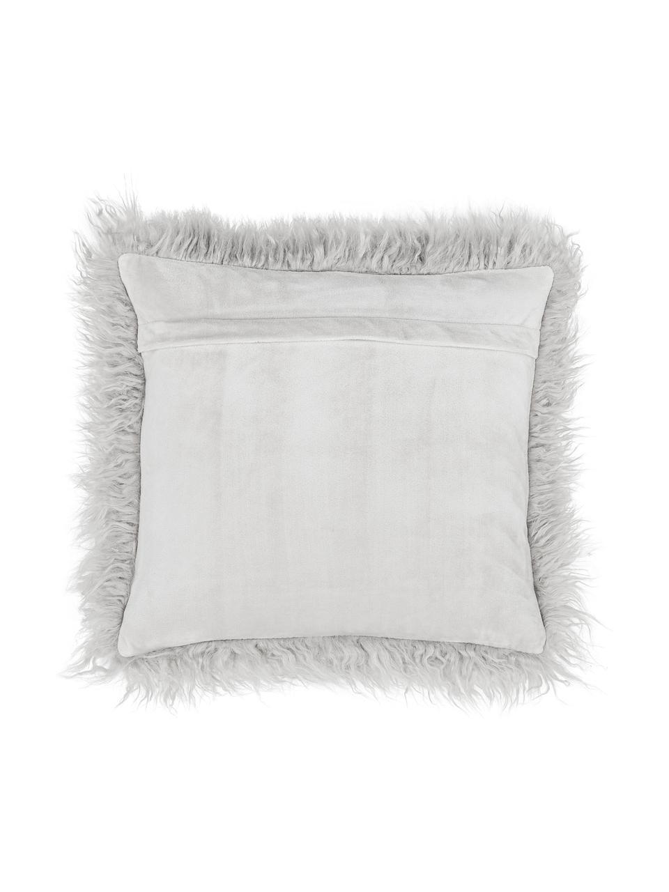 Flauschige Kunstfell-Kissenhülle Morten in Hellgrau, gelockt, Vorderseite: 67% Akryl, 33% Polyester, Rückseite: 100% Polyester, Hellgrau, 40 x 40 cm