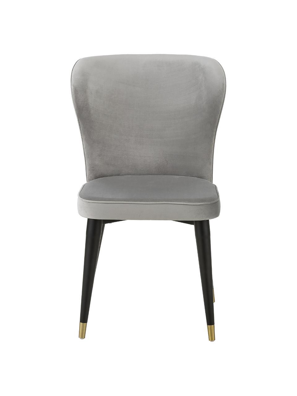 Klassischer Samt-Polsterstuhl Cleo, Bezug: Samt (Polyester) Der hoch, Beine: Metall, lackiert, Samt Grau, B 51 x T 62 cm