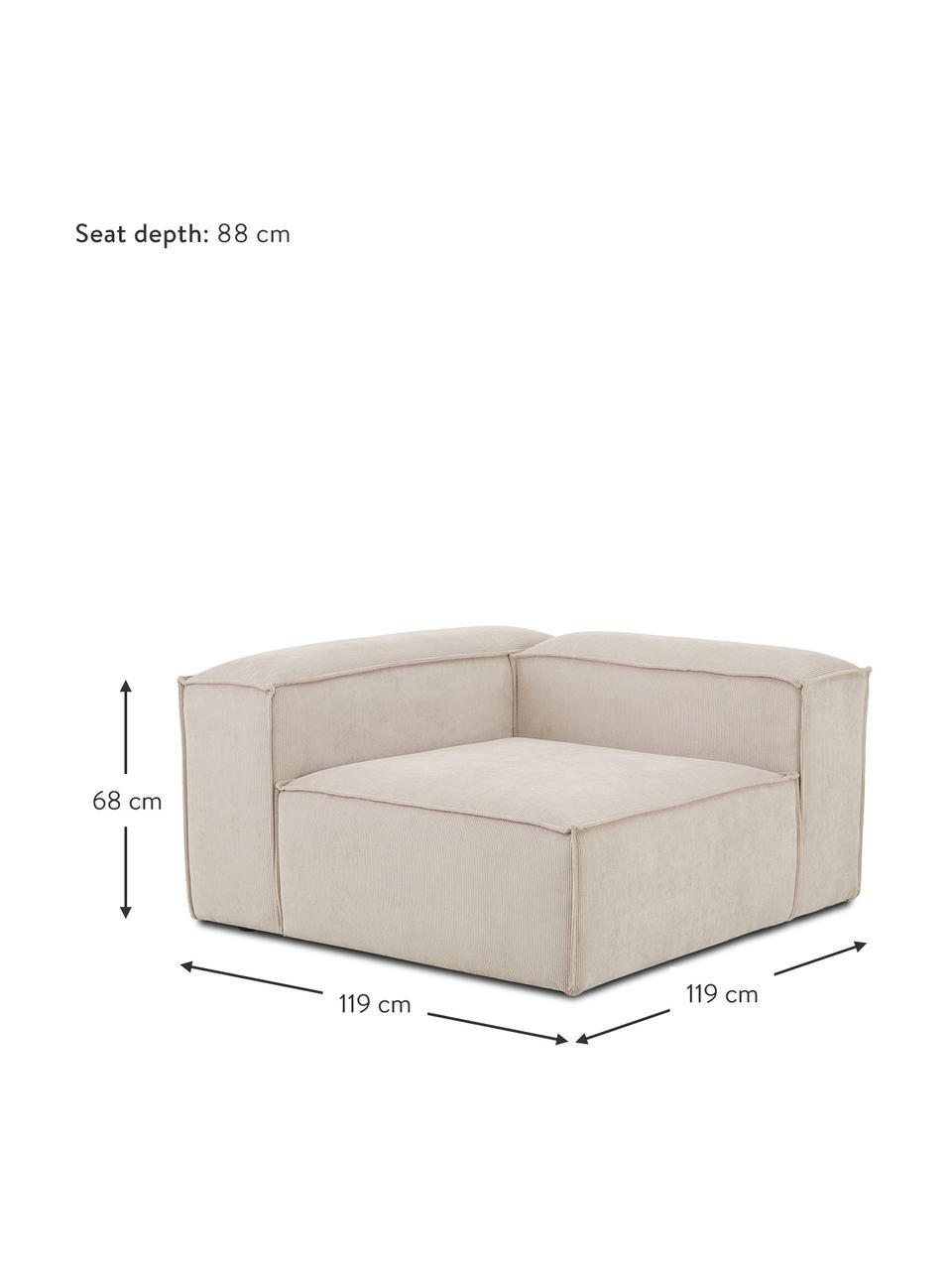 Módulo de esquina de pana sofá Lennon, Tapizado: pana (92%poliéster, 8%p, Estructura: madera de pino maciza, ma, Patas: plástico Las patas están , Pana beige, An 119 x F 119 cm