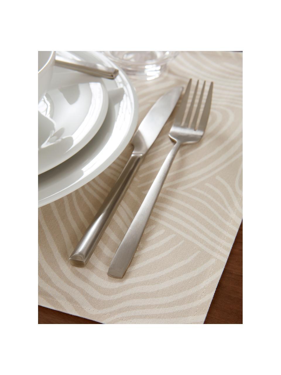 Baumwoll-Tischsets Vida in Beige mit feinen Linien, 2 Stück, 100% Baumwolle, Beige, 35 x 45 cm