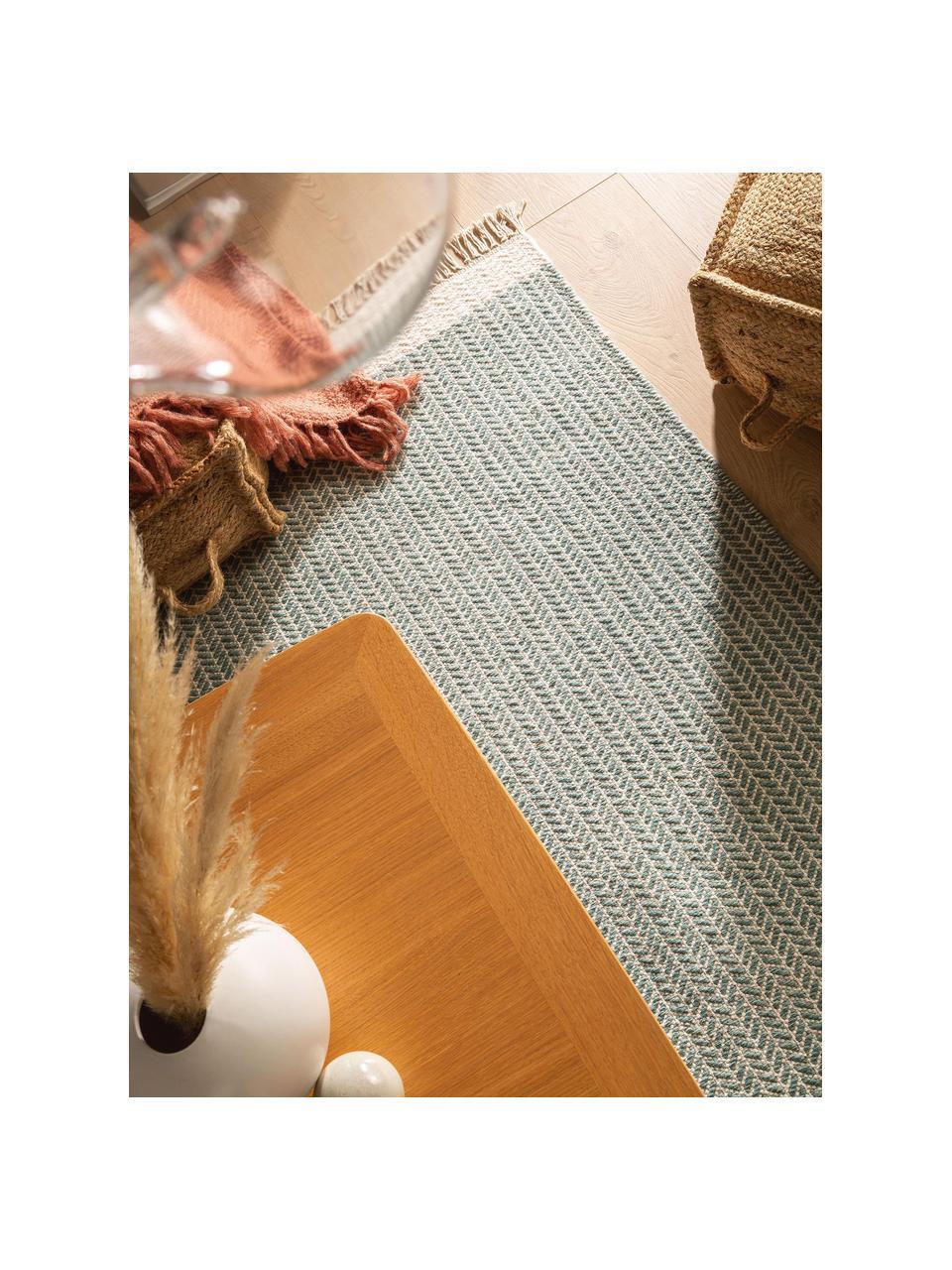 Ręcznie tkany dywan z wełny z frędzlami Kim, 80% wełna, 20% bawełna Włókna dywanów wełnianych mogą nieznacznie rozluźniać się w pierwszych tygodniach użytkowania, co ustępuje po pewnym czasie, Zielony, kremowy, S 120 x D 170 cm (Rozmiar S)
