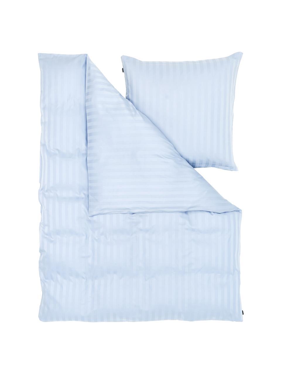 Pościel z satyny bawełnianej Linea, Jasny niebieski, 135 x 200 cm + 1 poduszka 80 x 80 cm
