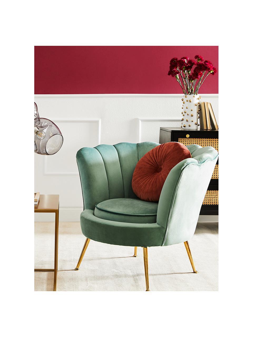 Fotel z aksamitu Oyster, Tapicerka: aksamit (poliester) Dzięk, Nogi: metal galwanizowany, Aksamitny turkusowy, S 81 x G 78 cm