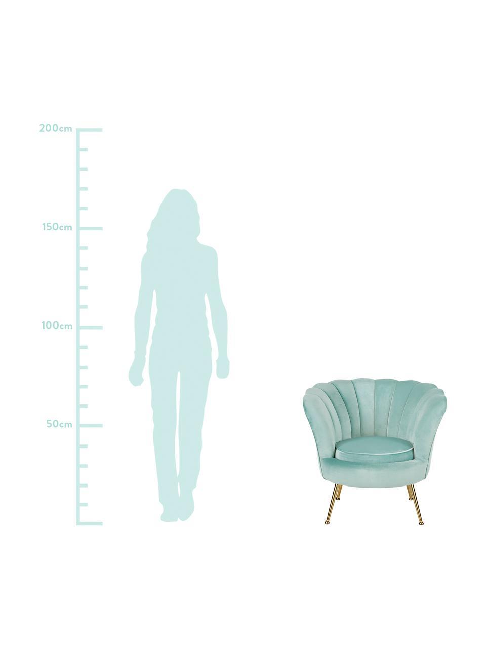 Fluwelen fauteuil Oyster in turquoise, Bekleding: fluweel (polyester), Frame: massief populierenhout, m, Poten: gegalvaniseerd metaal, Fluweel turquoise, B 81 x D 78 cm