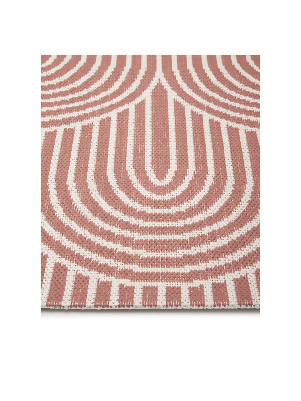In- & Outdoorläufer Arches in Koralle/Cremeweiß, 86% Polypropylen, 14% Polyester, Rot, Weiß, 80 x 250 cm