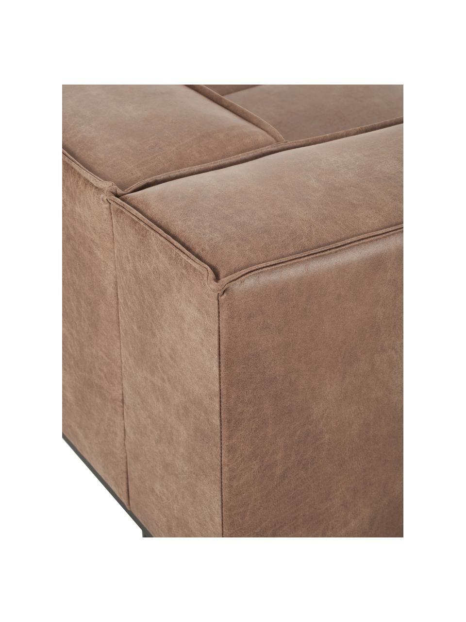 Sofa skórzana z metalowymi nogami Abigail (2-osobowa), Tapicerka: 70% skóra, 30% poliester, Nogi: metal lakierowany, Brązowy, S 190 x G 95 cm