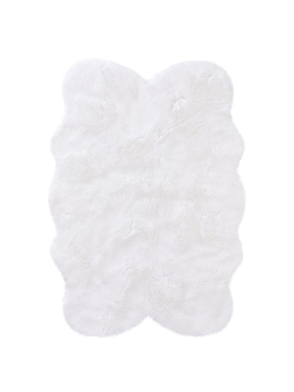Flauschiger Kunstfell-Teppich Elmo in Weiß, glatt, Flor: 50% Acryl, 50% Polyester, Weiß, B 140 x L 200 cm (Größe S)