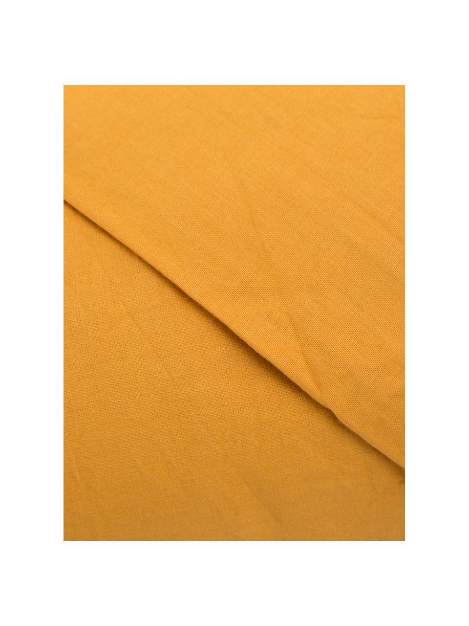 Parure copripiumino in cotone effetto stone washed Velle, Tessuto: cotone ranforce, Fronte e retro: giallo ocra, 155 x 200 cm