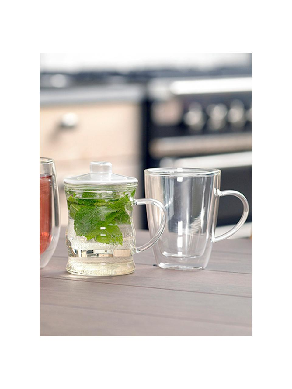 Doppelwandiges Teeglas Isolate, 2 Stück, Borosilikatglas, Transparent, Ø 9 x H 12 cm