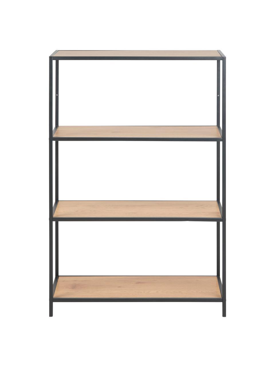 Regał z drewna i metalu Seaford, Stelaż: metal lakierowany proszko, Półki: dzikie drewno dębowe Stelaż: czarny, S 77 x W 114 cm